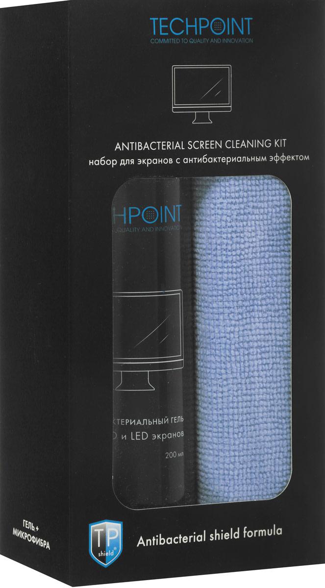 Набор Techpoint Antibacterial Screen Cleaning Kit: гель, салфетка, для ухода за LED и LCD экранами, цвет: голубой5102_голубойНабор Techpoint Antibacterial Screen Cleaning Kit состоит из антибактериального геля для LCD и LED экранов и салфетки из микрофибры Techpoint. Входящий в состав антибактериальный компонент, уничтожает микробы и бактерии и имеет пролонгированное действие защиты до 12 часов. TPS-технология. Оставляет поверхность биологически чистой.Рекомендуется для использования в офисных и жилых помещениях для уменьшения общего бактериального и микробного фона. Подходит для очистки экранов любого типа: LED, LCD, PLASMA, проекционных ТВ, фоторамок, компьютерных мониторов и мониторов ноутбуков. Улучшенная формула способствует уменьшенному расходу и максимально продолжительной защите от загрязнения. Удаляет пыль, предотвращает образование отпечатков. Не оставляет следов и разводов.Объем геля: 200 мл. Размер салфетки: 35 x 35 см. Товар сертифицирован.