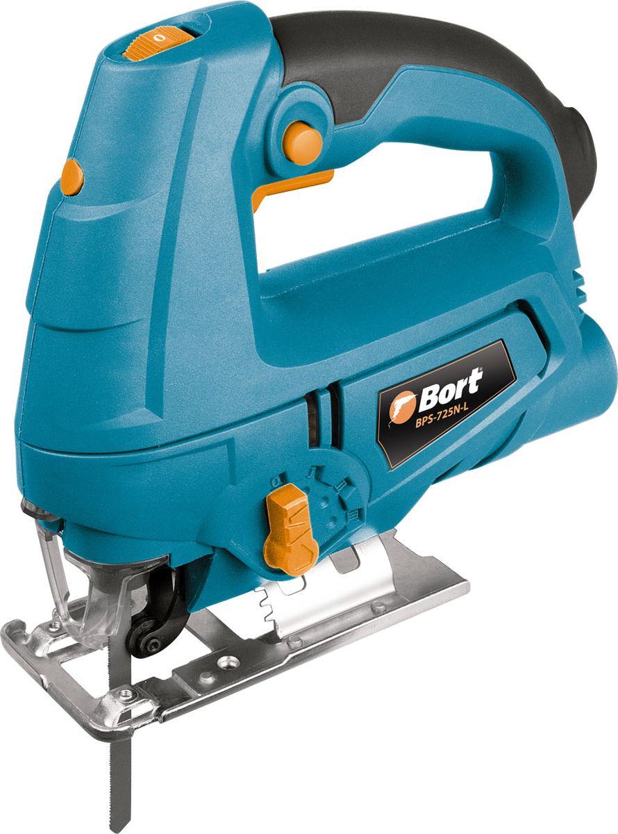 Лобзик электрический Bort91271129Электрический лобзик Bort BPS-725N-L - это инструмент с тонкой пилкой для узорного выпиливания. Используя различные пильные полотна, при помощи лобзика можно сделать прямолинейные и криволинейные разрезы в различных по твердости породах дерева и искусственных материалах, во всевозможных пластиках, в кирпиче, керамической плитке и стекле, цветных металлах и даже в стали.Мощность двигателя 710 Вт как и у многих профессиональных лобзиков, этой мощности вполне достаточно для основных работ. Модель имеет следующие функции: регулировка скорости, маятниковый режим и даже лазерная направляющая. Если скорость работы нужно ускорить, а точность и чистота пропила не важна, то пригодится маятниковый режим. С его помощью можно значительно сократить время распила. Для более точного позиционирования лобзика на поверхности служит лазерный прицел.