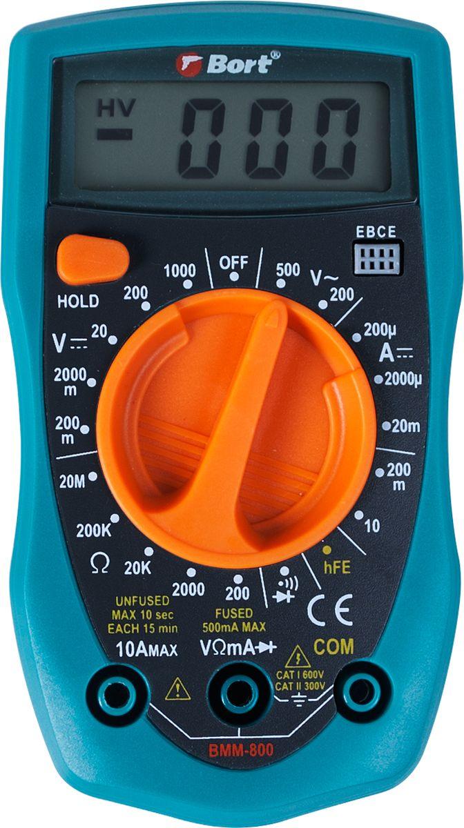 Мультитестер Bort BMM-80091271150Мультитестер Bort BMM-800 - недорогой и удобный измерительный прибор.Спомощью Bort BMM-800 можно измерить как напряжение и силу постоянного тока, так инапряжение и силу переменного тока, а также сопротивление сети. Он подойдет дляопределения непрерывности сети и для проверки диодов.Прибор оснащен электроннойзащитой входов. Характеристики: -измерение постоянного напряженияот 0 до 1000 V. -измерение постоянного тока от 0 до 10 A. -измерение переменного напряжения от 0 до 750 V. -измерение сопротивления от 0 до 2 Mom.