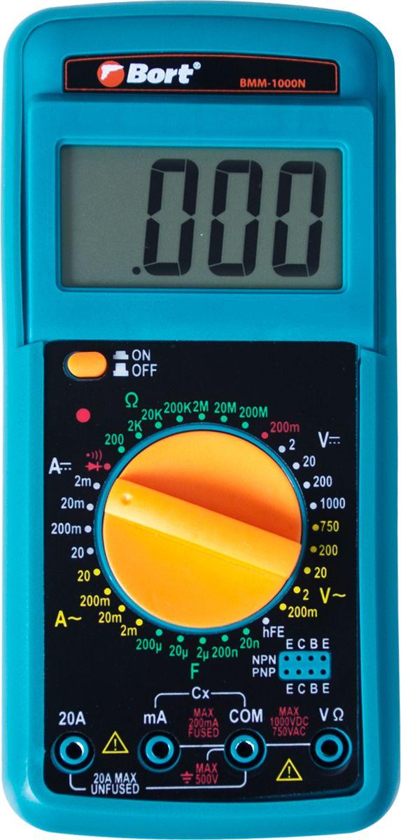 Мультитестер Bort BMM-1000N91271143Мощный аппарат Bort BMM-1000N предназначен для работы в сетях с напряжением от 0 до 1000V, он имеет профессиональный защитный чехол из полимерного материала. Может применяться для вычисления сопротивления (от 0 до 20 Mom) и силы тока (до 20А). Такие параметры позволяют использования его практически во всех известных бытовых и промышленных электросетях.Диапазон измерения емкости - 0-200F. Аппарат имеет идеальное соотношение цены и качества, а также очень компактные размеры, что позволит оперировать ним даже в условиях стесненного пространства.Для удобства работника дисплей может подниматься, имеется специальный откидной упор сзади детектора.Характеристики:Постоянное напряжение: 0-1000 В.Переменное напряжение: 0-750 В.Постоянный ток: 0-20 А.Переменный ток: 0-20 А.Сопротивление: 0-20 Мом.