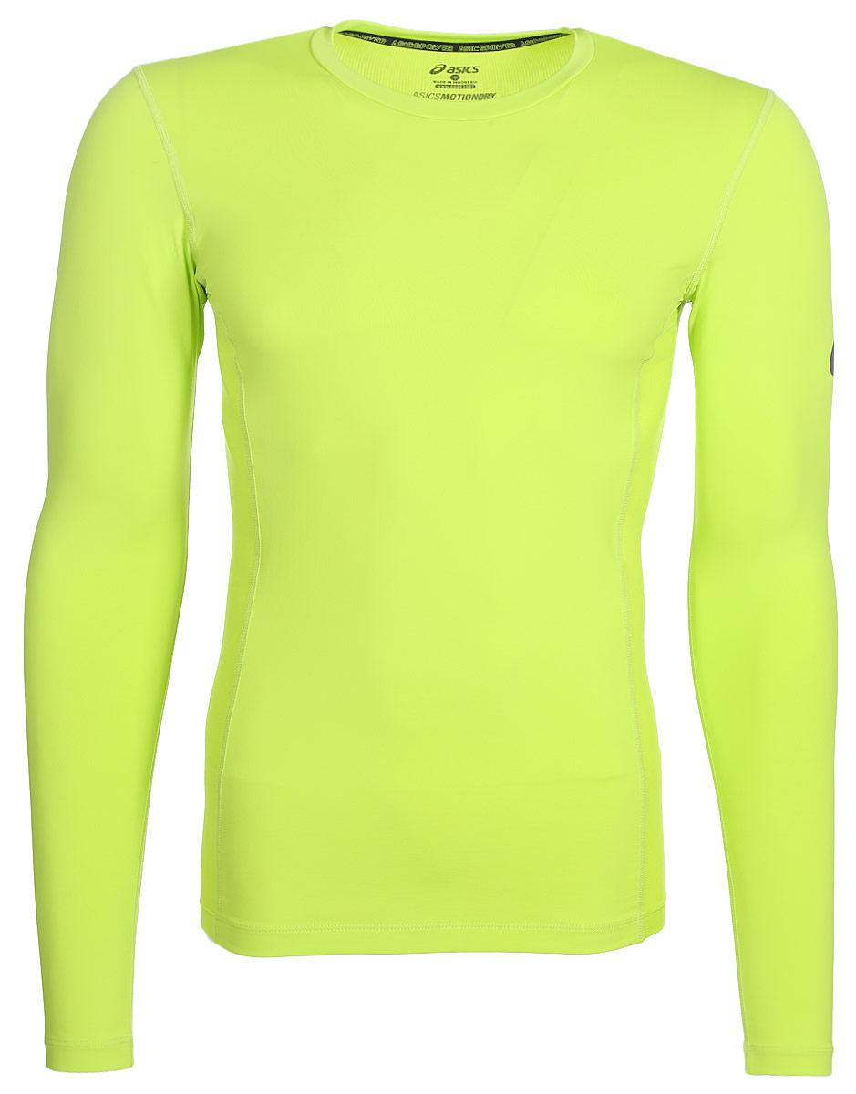 цена Лонгслив мужской Asics Ls Base Top, цвет: салатовый. 144476-0432. Размер XL (54)