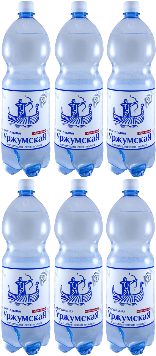 Уржумская кристальная вода газированная, 6 шт по 1,5 л уржумский квас для окрошки 1 5 л