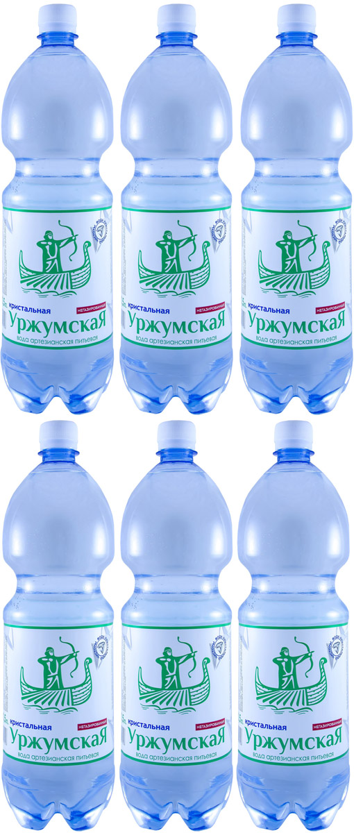 Уржумская кристальная вода негазированная, 6 шт по 1,5 л уржумский квас для окрошки 1 5 л