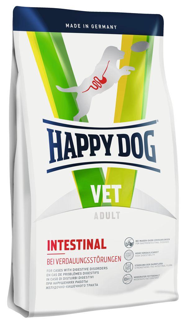Корм сухой Happy Dog Intestinal для собак с чувствительным пищеварением, 1 кг60359Сухой корм Happy Dog Intestinalприменяется при острых и хронических нарушениях работы желудочно – кишечного тракта. Благодаря высокой усвояемости и пониженному количеству жиров снижается нагрузка на желудочно-кишечный тракт. Ценные диетические волокна способствуют росту оптимальной кишечной микрофлоры и стабилизируют консистенцию кала, связывая воду. Ромашка и кориандр, входящие в состав формулы Natural Life Concept, традиционно используются в качестве добавок и в классической терапии желудочно – кишечных заболеваний.Особенности:Улучшенное усвоение питательных веществ Высокая переваримость Стабилизация стула и поддержание кишечной микрофлоры за счет диетической клетчатки (12%) Умеренное количество жира (для собак) / углеводов (для кошек) для снижения нагрузки на пищеварительный тракт Без глютена и без злаков.