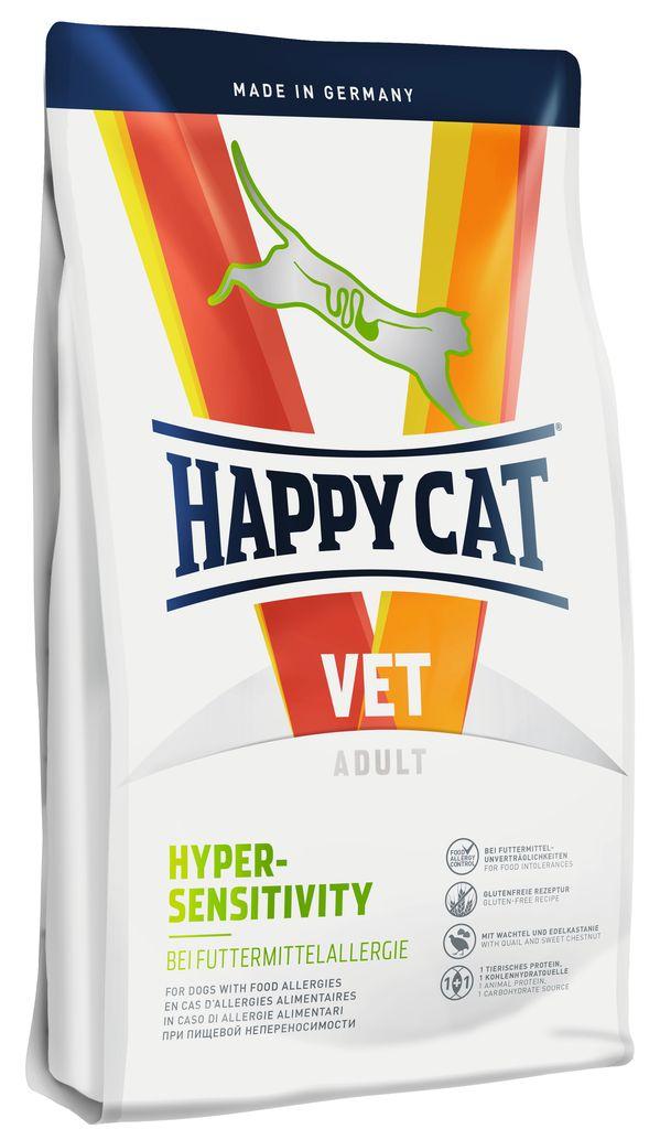 Корм сухой Happy Cat Hypersensitivity для кошек с пищевой аллергией, 4 кг70311Сухой кормHappy Cat Hypersensitivity применяется при аллергии на корм или непереносимости к корму. В его состав входит легко усваиваемый картофель и эксклюзивные ингредиенты — перепел и съедобный каштан. Безглютеновая рецептура отличается превосходной усваиваемостью, корм очень нравится кошкам, может использоваться при элиминационной диете.Особенности:Элиминационная диета1 эксклюзивный источник животного протеина: перепелиное мясо1 эксклюзивный источник углеводов: каштаныБезглютеновая и беззлаковая рецептураЛегкоусвояемые ингредиентыВысокая поедаемостьПитательные вещества для поддержания кожного обмена веществ.
