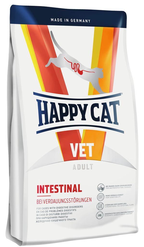 Корм сухой Happy Cat Intestinal для кошек с чувствительным пищеварением, 1,4 кг70313Корм сухой Happy Cat Intestinal для кошек применяется при острых и хронических нарушениях работы желудочно-кишечного тракта. Этот диетический корм отличается легкой усвояемостью ингредиентов и умеренным содержанием углеводов. Благодаря этому снижается нагрузка на пищеварительную систему. Ценные диетические волокна придают плотность консистенции стула, связывая воду и способствуют росту здоровой кишечной микрофлоры. Ромашка и кориандр, входящие в состав формулы, традиционно используются в качестве добавок в классической терапии желудочно-кишечных заболеваний. Ключевые функции корма: улучшенное усвоение питательных веществ, высокая переваримость, стабилизация стула и поддержание кишечной микрофлоры за счет диетической клетчатки (12%), умеренное количество жира (для собак) / углеводов (для кошек) для снижения нагрузки на пищеварительный тракт, без глютена и без злаков. Ингредиенты: белок из птицы, кукуруза, птичий жир, рисовая мука, мясопродукты, картофельные хлопья, лосось, гидролизат печени, лигноцеллюлоза, свекольная пульпа, хлорид калия, сухое цельное яйцо, хлорид натрия, яблочная пульпа, дрожжи, морские водоросли, семя льна, Юкка Шидигера, корень цикория, дрожжи (экстрагированные), расторопша, артишок, одуванчик, имбирь, листья березы, крапива, ромашка, кориандр, розмарин, шалфей, корень солодки, тимьян в сушеном виде, с частичным гидролизом. Аналитический состав: сырой протеин 33.5 %, сырой жир 19.5 %, сырая клетчатка 2.0 %, сырая зола 6.0 %, кальций 1.25 %, натрий 0.45 %, калий 0.65 %, магний 0.07 %, фосфор 0.8 %, хлориды 0.85 %, сера 0.6%. Добавки: витамины / кг: витамин A (3a672a) 18000 МЕ , витамин D3 (E671) 900 МЕ, Антиоксиданты, экстракты токоферола из растительных масел 1b306(i). Микроэлементы / кг:железо (E1, сульфат железа (II), моногидрат) 120 мг, медь (E4, сульфат меди (II), пентагидрат) 10 мг, цинк (E6, оксид цинка, аминокислотный хелат цинка, гидрат) 150 мг, марганец 