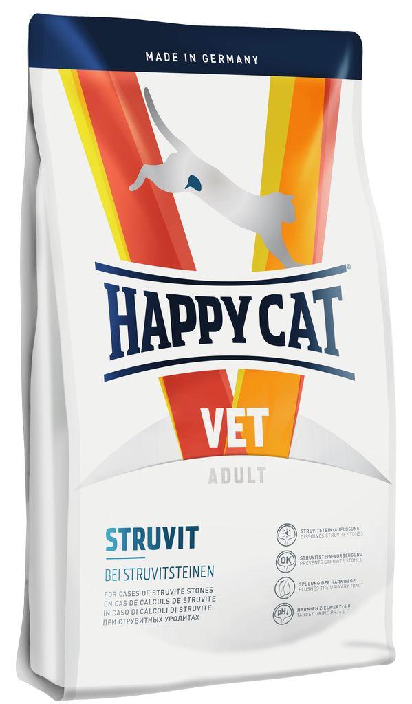 Корм сухой Happy Cat Struvit для кошек, 4 кг70323Happy Cat VET Diеt Struvit применяется для растворения струвитных уролитов. Этот диетический корм отличается особенно высоким качеством белков, а также пониженным содержанием магния и фосфора и способствует значительному снижению уровня рН мочи. Умеренное повышение уровня натрия приводит к появлению жажды, тем самым стимулируя повышенное потребление воды, и как следствие усиление диуреза. Листья берёзы и крапива, входящие в состав формулы Natural Life Concept®, традиционно используются в качестве добавок при классическом лечении мочевыводящих путей.