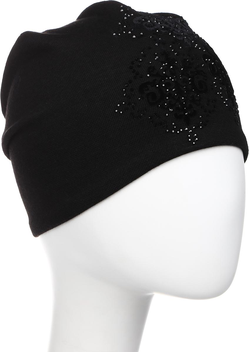 Шапка женская Level Pro Гальяно, цвет: черный. 405880. Размер 56/58405880Стильная женская шапка Level Pro Гальяно дополнит ваш наряд и не позволит вам замерзнуть в холодное время года. Шапка выполнена из шерсти с добавлением полиэстера, что позволяет ей великолепно сохранять тепло и обеспечивает высокую эластичность и удобство посадки. Внутренняя сторона модели трикотажная. Изделие оформлено оригинальным цветочным принтом из блестящих стразов и дополнено замшевой отделкой.Такая шапка составит идеальный комплект с модной верхней одеждой, в ней вам будет уютно и тепло.