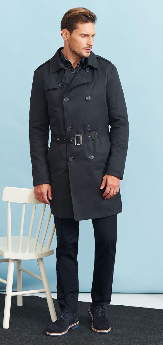 Пальто мужское Top Secret, цвет: темно-серый. SPZ0391GR. Размер XL (50)SPZ0391GRСтильное мужское пальто Top Secret, выполненное из высококачественного плотного материала, рассчитано на прохладную погоду. Модель с отложным воротником и длинными рукавами застегивается на двубортную застежку на пуговицах. По бокам имеются два втачных кармана. Плечи оформлены хлястиками на пуговицах. Модель дополнена поясом с пряжкой. На спинке предусмотрена шлица. В этом пальто вам будет уютно и комфортно.