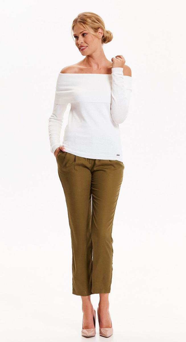 Брюки женские Top Secret, цвет: хаки. SSP2627ZI. Размер 34 (42)SSP2627ZIМодные брюки Top Secret актуальной укороченной длины выполнены из высококачественного материала. Модель с посадкой на талии дополнена поясом и двумя боковыми карманами. Сзади - два прорезных кармашка. Такие брюки подчеркнут все достоинства вашей фигуры.