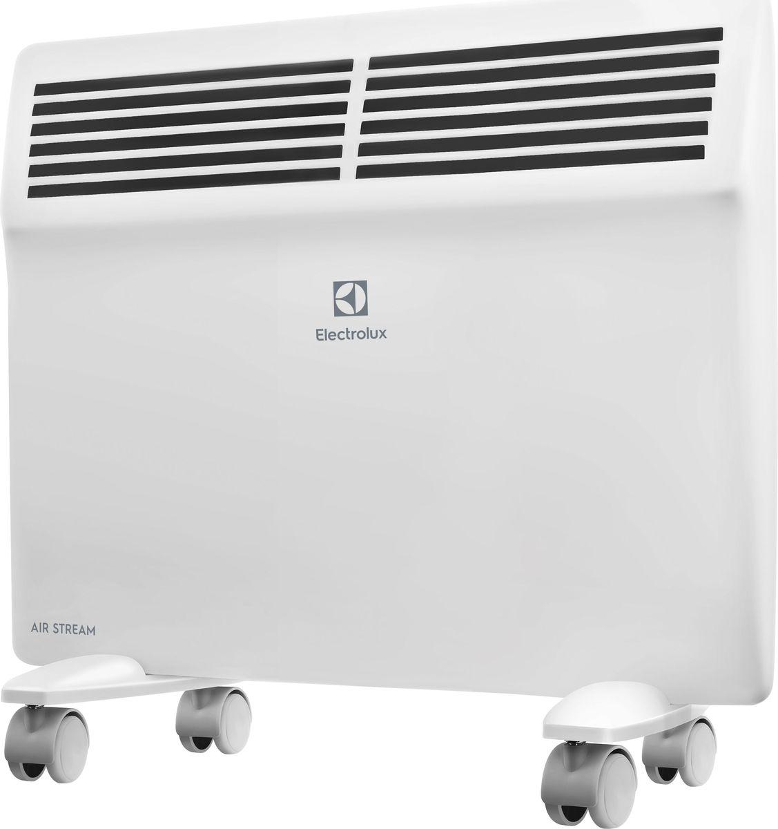 Electrolux ECH/AS-1000ER конвекторECH/AS-1000ERЭлектрический конвектор Electrolux ECH/AS-1000ER имеет нагревательный элемент нового поколения X-DUOS с увеличенной площадью теплоотдачи. Конвектор работает в режимах полной и половинной мощности. Класс влагозащищенности IP 24. Предусмотрена настенная и напольная установка.Нагревательный элемент X-DUOSНагревательный элемент X-DUOS, разработанный для серии AIR STREAM представляет собой цельнолитую Х-образную ребристую конструкцию, выполненную из специального сплава алюминия с применением Nano-технологий, что позволило добиться равномерной температуры по всей длине нагревательного элемента. Главная особенность нагревательного элемента заложена в специальной обработке его поверхности, на выходе структура его поверхности получается «ракушечной». Данная технология позволила увеличить площадь поверхности теплоотдачи на 25% по сравнению со стандартными монолитными нагревательными элементами.Форма X-DUOS и структура его поверхности обеспечивает максимальный теплосъем с минимальным сопротивлением потоку теплого воздуха. Это позволяет быстро обогревать помещение и значительно экономить электроэнергию (до 20%, если сравнивать с другими типами обогревателей).Монолитная конструкция нагревательного элемента X-DUOS сводит к минимуму все возможные тепловые потери, обеспечивая моментальный нагрев воздуха, тем самым демонстрируя высокий показатель надежности и более долгий срок эксплуатации прибора. Благодаря особенностям конструкции и Nano-технологиям, примененным в производстве материалов для нагревательного элемента, X-DUOS абсолютно бесшумно выходит на рабочую температуру за рекордно короткий срок — до 75 секунд.Интеллектуальное управлениеДля управления конвекторами Air Stream разработан ультрасовременный блок управления нового поколения. Логика выбора необходимой температуры нагрева воздуха и управления другими функциями обогревателя предельно проста. LED-дисплей отображает не только заданную и фактическую температуру в помещении, а