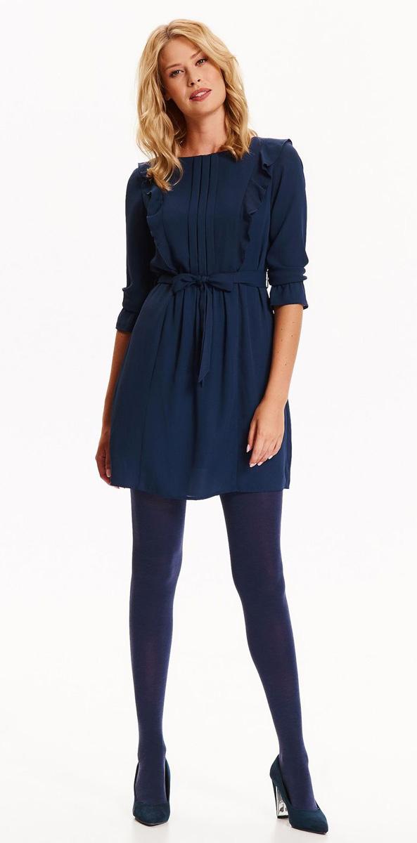 Платье Top Secret, цвет: синий. SSU1939GR. Размер 36 (44)SSU1939GRСтильное платье Top Secret выполнено из легкого полиэстера. Модель с круглым вырезом горловины и рукавами до локтя. На спинке изделие застегивается на пуговицу и застежку-молнию. На груди платье оформлено декоративными складками и оборками. Линию талии подчеркивает пояс в тон платью. Спинка также украшена оборками. Манжеты рукавов застегиваются на пуговицы. Такое платье позволит вам создать легкий романтичный образ.
