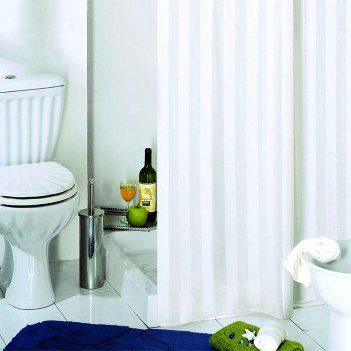 Штора для ванной Bacchetta Rigone, цвет: белый, 180 х 200 см2851Текстильная штора для ванной в универсальном дизайне от производителя с мировым именем Bacchetta. Выполнена штора из высококачественного полиэстера, штора однотонная в приятном пастельном оттенке с жаккардовым рисунком, который формируется за счет изменения направления нитей, поэтому достигается эффект шелкового перелива одних элементов рисунка и матовость других. Штора имеет водоотталкивающую и антибактериальную пропитку, которая препятствует появлению на шторе плесени и других вредных грибков. Штора оснащена утяжелителем, который вшит по нижнему краю, и не позволяет шторе подниматься от потоков воздуха, создаваемых напором воды. Верхний край шторы усилен двойным подворотом ткани, люверсы для колец выполнены из пластика, это исключает появление ржавчины в помещении с повышенной влажностью, что часто встречается при использовании металлических деталей. Технология производства изделий отвечает новейшим европейским стандартам. Полотна отличаются высочайшими качественными характеристиками: высокими показателями износостойкости, цветостойкости и цветопередачи, прочности ткани на разрыв. Штора со временем не выцветает, а рисунок не вымывается.В комплекте со шторой предусмотрено 12 пластиковых колец. Допускается деликатная стирка при температуре не более 30 С, штора быстро сохнет.