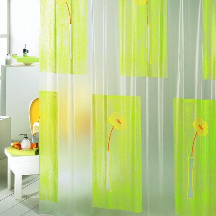 Штора для ванной Bacchetta Steli, цвет: салатовый, 180 х 200 см2859Влагонепроницаемая, надежная, долговечная и практичная штора для ванной Bacchetta выполнена штора из высококачественного ПВХ. Технология производства изделий отвечает новейшим европейским стандартам. Полотна отличаются высочайшими качественными характеристиками: высокими показателями износостойкости, прочности, цветостойкости и цветопередачи. Печатный рисунок на прозрачном матовом фоне визуально не нагромождает пространство небольшой ванной комнаты. Штора обладает высокой прочностью.В комплекте предусмотрено 12 пластиковых колец. Штора со временем не выцветает, а рисунок не вымывается. Изделие легко моется и быстро сохнет.