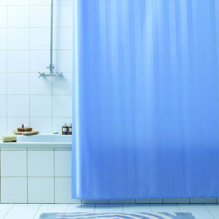 Штора для ванной Bacchetta Rigone, цвет: синий, 180 х 200 см2992Текстильная штора для ванной в универсальном дизайне от производителя с мировым именем Bacchetta. Выполнена штора из высококачественного полиэстера, штора однотонная в приятном пастельном оттенке с жаккардовым рисунком, который формируется за счет изменения направления нитей, поэтому достигается эффект шелкового перелива одних элементов рисунка и матовость других. Штора имеет водоотталкивающую и антибактериальную пропитку, которая препятствует появлению на шторе плесени и других вредных грибков. Штора оснащена утяжелителем, который вшит по нижнему краю, и не позволяет шторе подниматься от потоков воздуха, создаваемых напором воды. Верхний край шторы усилен двойным подворотом ткани, люверсы для колец выполнены из пластика, это исключает появление ржавчины в помещении с повышенной влажностью, что часто встречается при использовании металлических деталей. Технология производства изделий отвечает новейшим европейским стандартам. Полотна отличаются высочайшими качественными характеристиками: высокими показателями износостойкости, цветостойкости и цветопередачи, прочности ткани на разрыв. Штора со временем не выцветает, а рисунок не вымывается. В комплекте со шторой предусмотрено 12 пластиковых колец. Допускается деликатная стирка при температуре не более 30 С, штора быстро сохнет.