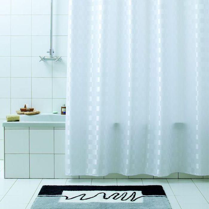 Штора для ванной Bacchetta Quadretto, цвет: белый, 180 х 200 см3003Текстильная штора для ванной в универсальном дизайне от производителя с мировым именем Bacchetta. Выполнена штора из высококачественного полиэстера в белом цвете с жаккардовым рисунком, который формируется за счет изменения направления нитей, поэтому достигается эффект шелкового перелива одних элементов рисунка и матовость других. Штора имеет водоотталкивающую и антибактериальную пропитку, которая препятствует появлению на шторе плесени и других вредных грибков. Штора оснащена утяжелителем, который вшит по нижнему краю, и не позволяет шторе подниматься от потоков воздуха, создаваемых напором воды. Верхний край шторы усилен двойным подворотом ткани, люверсы для колец выполнены из пластика, это исключает появление ржавчины в помещение с повышенной влажностью, что часто встречается при использовании металлических деталей. Технология производства изделий отвечает новейшим европейским стандартам. Полотна отличаются высочайшими качественными характеристиками: высокими показателями износостойкости, цветостойкости и цветопередачи, прочности ткани на разрыв. Штора со временем не выцветает, а рисунок не вымывается. В комплекте со шторой предусмотрено 12 пластиковых колец. Допускается деликатная стирка при температуре не более 30 С, штора быстро сохнет.