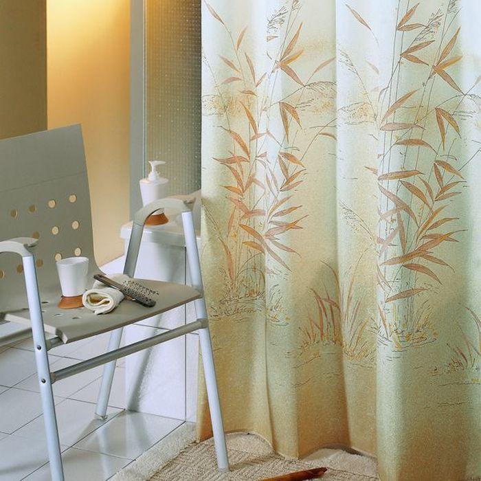 """Текстильная штора для ванной """"Bacchetta"""" - выполнена из высококачественного полиэстера с водоотталкивающей и антибактериальной пропиткой, которая препятствует появлению на шторе плесени и других вредных грибков. Штора оснащена утяжелителем, который вшит по нижнему краю, и не позволяет шторе подниматься от потоков воздуха, создаваемых напором воды. Верхний край шторы усилен двойным подворотом ткани, люверсы для колец выполнены из пластика, это исключает появление ржавчины в помещении с повышенной влажностью, что часто встречается при использовании металлических деталей. Технология производства изделий отвечает новейшим европейским стандартам. Полотна отличаются высочайшими качественными характеристиками: высокими показателями износостойкости, цветостойкости и цветопередачи, прочности ткани на разрыв. Штора со временем не выцветает, а рисунок не вымывается. В комплекте со шторой предусмотрено 12 пластиковых колец. Допускается деликатная стирка при температуре не более 30 С, штора быстро сохнет."""