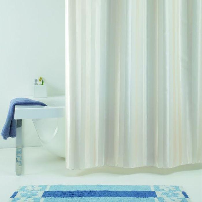 Штора для ванной Bacchetta Rigone, цвет: бежевый, 180 х 200 см3006Текстильная штора для ванной в универсальном дизайне от производителя с мировым именем Bacchetta. Выполнена штора из высококачественного полиэстера, штора однотонная в приятном пастельном оттенке с жаккардовым рисунком, который формируется за счет изменения направления нитей, поэтому достигается эффект шелкового перелива одних элементов рисунка и матовость других. Штора имеет водоотталкивающую и антибактериальную пропитку, которая препятствует появлению на шторе плесени и других вредных грибков. Штора оснащена утяжелителем, который вшит по нижнему краю, и не позволяет шторе подниматься от потоков воздуха, создаваемых напором воды. Верхний край шторы усилен двойным подворотом ткани, люверсы для колец выполнены из пластика, это исключает появление ржавчины в помещении с повышенной влажностью, что часто встречается при использовании металлических деталей. Технология производства изделий отвечает новейшим европейским стандартам. Полотна отличаются высочайшими качественными характеристиками: высокими показателями износостойкости, цветостойкости и цветопередачи, прочности ткани на разрыв. Штора со временем не выцветает, а рисунок не вымывается. В комплекте со шторой предусмотрено 12 пластиковых колец. Допускается деликатная стирка при температуре не более 30 С, штора быстро сохнет.