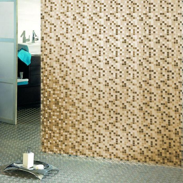 Штора для ванной Bacchetta Mosaico, цвет: бежевый, 180 х 200 см3011Влагонепроницаемая, надежная, долговечная и практичная штора для ванной от производителя с мировым именем Bacchetta. Выполнена штора из высококачественного ПВХ. Технология производства изделий отвечает новейшим европейским стандартам. Полотна отличаются высочайшими качественными характеристиками: высокими показателями износостойкости, прочности, цветостойкости и цветопередачи. Рисунок орнамента выполнен с применением тиснения, что создает визуальное ощущение объемности рисунка, это стильно выглядит в ванной комнате любого размера, рисунок не создает визуального нагромождения. Штора обладает высокой прочностью, в комплекте предусмотрено 12 пластиковых колец. Штора со временем не выцветает, а рисунок не вымывается. Изделие легко моется и быстро сохнет.