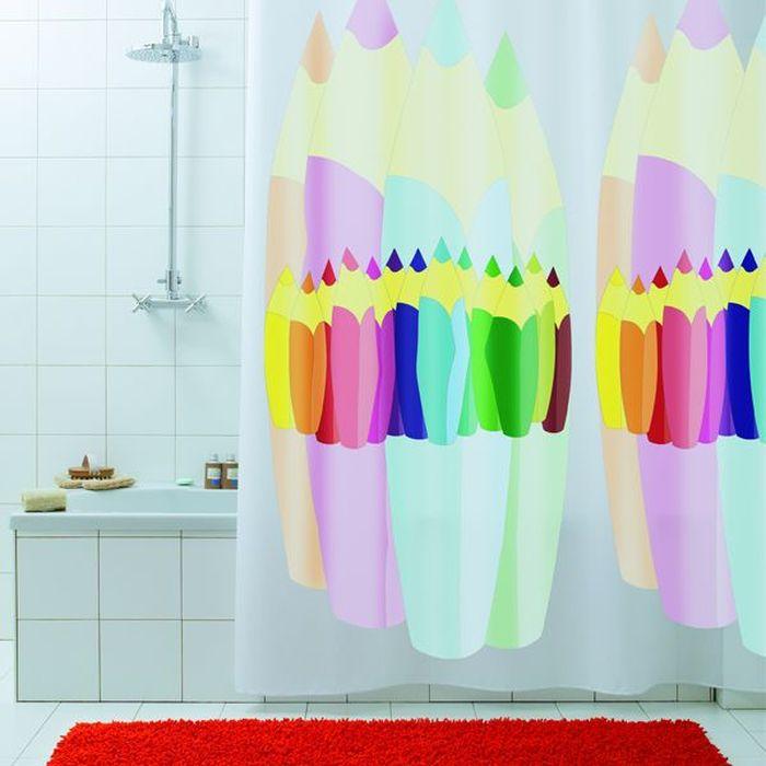 Штора для ванной Bacchetta Matita, цвет: мультиколор, 180 х 200 см3023Текстильная штора для ванной в стильном дизайне от производителя с мировым именем Bacchetta. Выполнена штора из высококачественного полиэстера с водоотталкивающей и антибактериальной пропиткой, которая препятствует появлению на шторе плесени и других вредных грибков. Штора оснащена утяжелителем, который вшит по нижнему краю, и не позволяет шторе подниматься от потоков воздуха, создаваемых напором воды. Верхний край шторы усилен двойным подворотом ткани, люверсы для колец выполнены из пластика, это исключает появление ржавчины в помещение с повышенной влажностью, что часто встречается при использовании металлических деталей. Технология производства изделий отвечает новейшим европейским стандартам. Полотна отличаются высочайшими качественными характеристиками: высокими показателями износостойкости, цветостойкости и цветопередачи, прочности ткани на разрыв. Штора со временем не выцветает, а рисунок не вымывается. В комплекте со шторой предусмотрено 12 пластиковых колец. Допускается деликатная стирка при температуре не более 30 С, штора быстро сохнет.