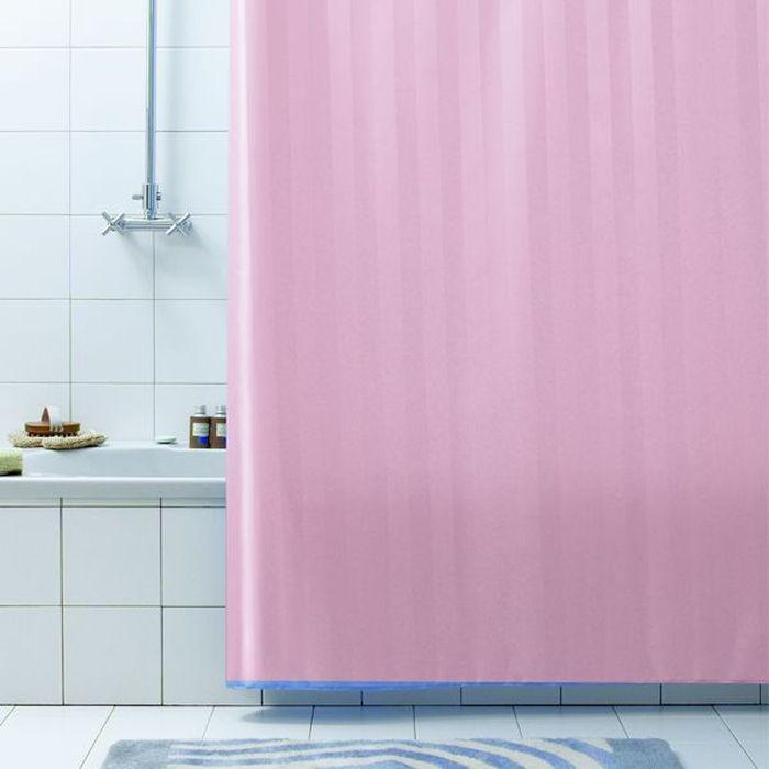 Штора для ванной Bacchetta Rigone, цвет: розовый, 180 х 200 см3212Текстильная штора для ванной Bacchetta в стильном дизайне выполнена извысококачественного полиэстера с водоотталкивающей и антибактериальной пропиткой,которая препятствует появлению на шторе плесени и других вредных грибков.Штора оснащена утяжелителем, который вшит по нижнему краю, и не позволяет штореподниматься от потоков воздуха, создаваемых напором воды. Верхний край шторы усилендвойным подворотом ткани, люверсы для колец выполнены из пластика, это исключаетпоявление ржавчины в помещение с повышенной влажностью, что часто встречается прииспользовании металлических деталей. Технология производства изделий отвечает новейшимевропейским стандартам. Полотна отличаются высочайшими качественными характеристиками:высокими показателями износостойкости, цветостойкости и цветопередачи, прочности ткани наразрыв.Штора со временем не выцветает.В комплекте со шторой предусмотрено 12 пластиковых колец.Допускается деликатная стирка при температуре не более 30 С, штора быстро сохнет.