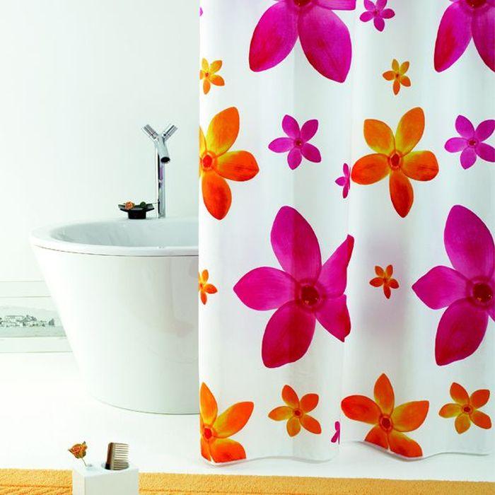 Штора для ванной Bacchetta Dafne, цвет: белый, сиреневый, 180 х 200 см3506Текстильная штора для ванной в стильном дизайне от производителя с мировым именем Bacchetta. Выполнена штора из высококачественного полиэстера с водоотталкивающей и антибактериальной пропиткой, которая препятствует появлению на шторе плесени и других вредных грибков. Штора оснащена утяжелителем, который вшит по нижнему краю, и не позволяет шторе подниматься от потоков воздуха, создаваемых напором воды. Верхний край шторы усилен двойным подворотом ткани, люверсы для колец выполнены из пластика, это исключает появление ржавчины в помещении с повышенной влажностью, что часто встречается при использовании металлических деталей. Технология производства изделий отвечает новейшим европейским стандартам. Полотна отличаются высочайшими качественными характеристиками: высокими показателями износостойкости, цветостойкости и цветопередачи, прочности ткани на разрыв. Штора со временем не выцветает, а рисунок не вымывается. В комплекте со шторой предусмотрено 12 пластиковых колец. Допускается деликатная стирка при температуре не более 30 С, штора быстро сохнет.