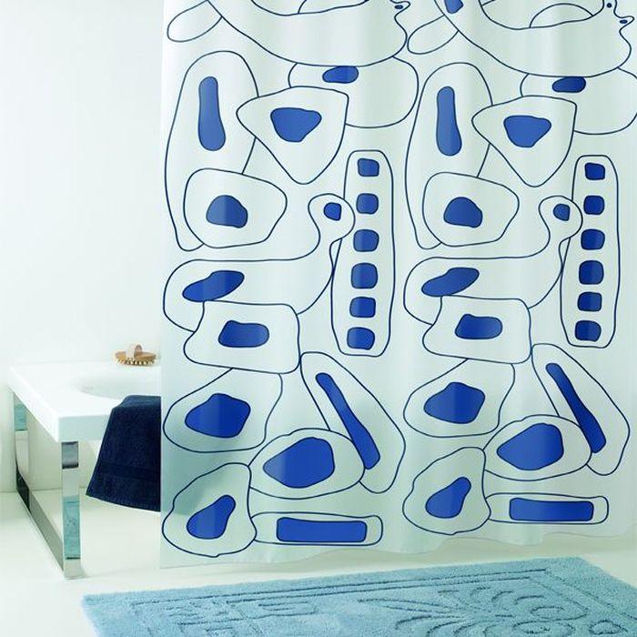 Штора для ванной Bacchetta Abstract, цвет: белый, синий, 180 х 200 см3507Влагонепроницаемая, надежная, долговечная и практичная штора для ванной, выполненная из высококачественного ПВХ, который устойчив к перепадам температур, поэтому со временем не крошится и не расслаивается. Нежный печатный рисунок на прозрачном матовом фоне визуально не нагромождает пространство небольшой ванной комнаты. Штора со временем не выцветает, а рисунок не вымывается. Штора обладает высокой прочностью, толщина полотна 0,125 мм. В комплекте со шторой предусмотрено 12 пластиковых колец. Изделие легко моется и быстро сохнет.
