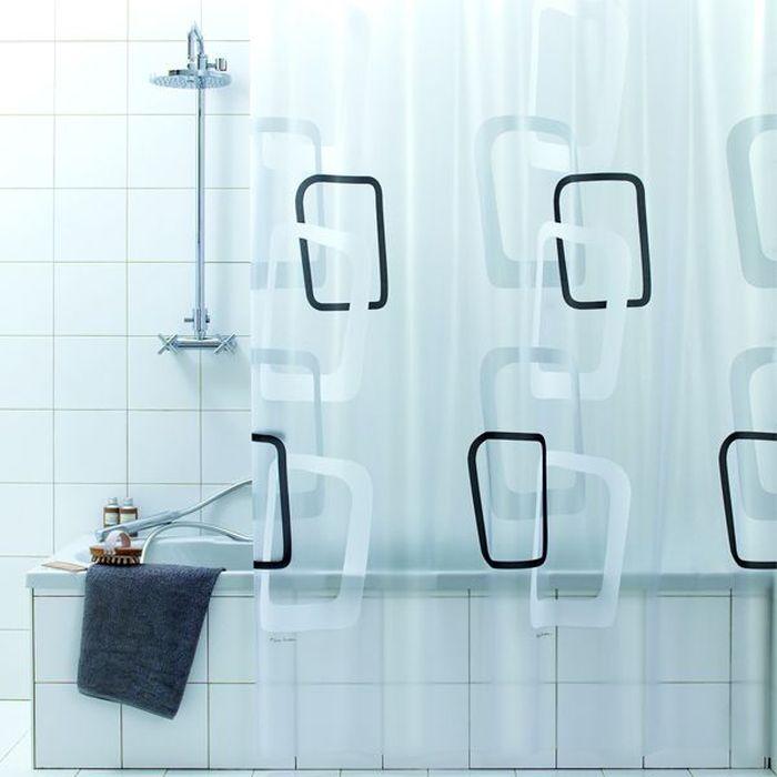 Штора для ванной Bacchetta Quadry, цвет: белый, черный, 180 х 200 см3509Влагонепроницаемая, надежная, долговечная и практичная штора для ванной от производителя с мировым именем Bacchetta. Выполнена штора из высококачественного ПВХ. Технология производства изделий отвечает новейшим европейским стандартам. Полотна отличаются высочайшими качественными характеристиками: высокими показателями износостойкости, прочности, цветостойкости и цветопередачи. Печатный рисунок на прозрачном матовом фоне визуально не нагромождает пространство небольшой ванной комнаты. Штора обладает высокой прочностью, в комплекте предусмотрено 12 пластиковых колец. Штора со временем не выцветает, а рисунок не вымывается. Изделие легко моется и быстро сохнет.