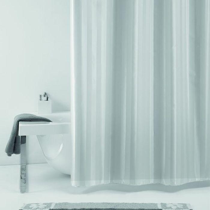 Штора для ванной Bacchetta Rigone, цвет: серый, 180 х 200 см3640Текстильная штора для ванной Bacchetta в стильном дизайне выполнена из высококачественного полиэстера с водоотталкивающей и антибактериальной пропиткой, которая препятствует появлению на шторе плесени и других вредных грибков. Штора оснащена утяжелителем, который вшит по нижнему краю, и не позволяет шторе подниматься от потоков воздуха, создаваемых напором воды. Верхний край шторы усилен двойным подворотом ткани, люверсы для колец выполнены из пластика, это исключает появление ржавчины в помещение с повышенной влажностью, что часто встречается при использовании металлических деталей. Технология производства изделий отвечает новейшим европейским стандартам. Полотна отличаются высочайшими качественными характеристиками: высокими показателями износостойкости, цветостойкости и цветопередачи, прочности ткани на разрыв. Штора со временем не выцветает, а рисунок не вымывается. В комплекте со шторой предусмотрено 12 пластиковых колец. Допускается деликатная стирка при температуре не более 30 С, штора быстро сохнет.
