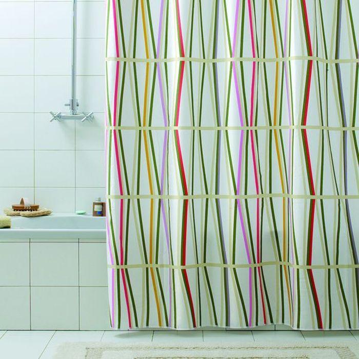 Текстильная штора для ванной в стильном дизайне от производителя с мировым  именем Bacchetta. Выполнена штора из высококачественного полиэстера с  водоотталкивающей и антибактериальной пропиткой, которая препятствует  появлению на шторе плесени и других вредных грибков. Штора оснащена  утяжелителем, который вшит по нижнему краю, и не позволяет шторе  подниматься от потоков воздуха, создаваемых напором воды. Верхний край  шторы усилен двойным подворотом ткани, люверсы для колец выполнены из  пластика, это исключает появление ржавчины в помещении с повышенной  влажностью, что часто встречается при использовании металлических деталей.  Технология производства изделий отвечает новейшим европейским стандартам.  Полотна отличаются высочайшими качественными характеристиками: высокими  показателями износостойкости, цветостойкости и цветопередачи, прочности  ткани на разрыв. Штора со временем не выцветает, а рисунок не вымывается. В  комплекте со шторой предусмотрены 12 пластиковых колец. Допускается  деликатная стирка при температуре не более 30 С, штора быстро сохнет.