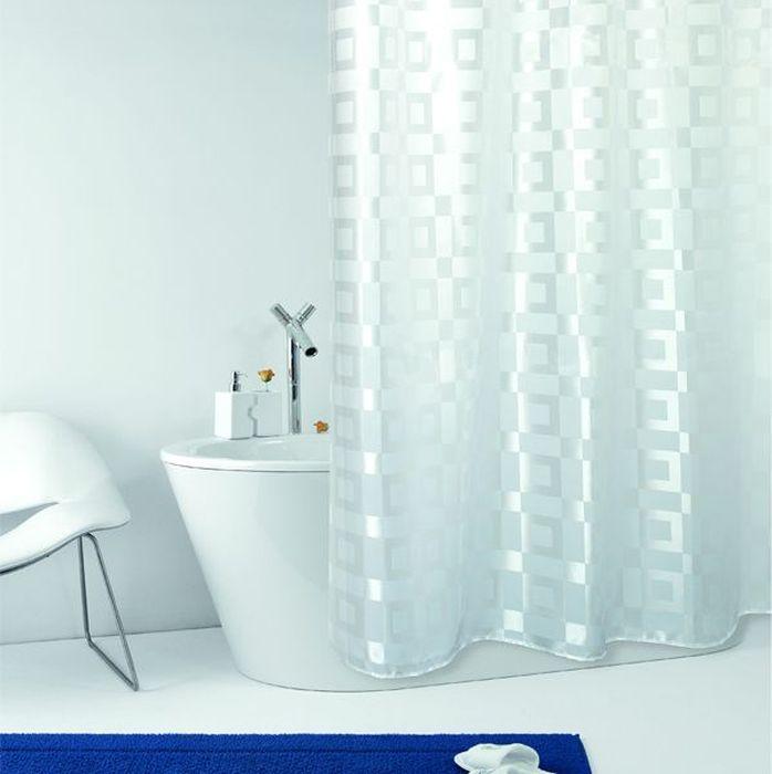 Текстильная штора для ванной в универсальном дизайне от производителя с мировым именем Bacchetta. Выполнена штора из высококачественного полиэстера в белом цвете с жаккардовым рисунком, который формируется за счет изменения направления нитей, поэтому достигается эффект шелкового перелива одних элементов рисунка и матовость других. Штора имеет водоотталкивающую и антибактериальную пропитку, которая препятствует появлению на шторе плесени и других вредных грибков. Штора оснащена утяжелителем, который вшит по нижнему краю, и не позволяет шторе подниматься от потоков воздуха, создаваемых напором воды. Верхний край шторы усилен двойным подворотом ткани, люверсы для колец выполнены из пластика, это исключает появление ржавчины в помещении с повышенной влажностью, что часто встречается при использовании металлических деталей. Технология производства изделий отвечает новейшим европейским стандартам. Полотна отличаются высочайшими качественными характеристиками: высокими показателями износостойкости, цветостойкости и цветопередачи, прочности ткани на разрыв. Штора со временем не выцветает, а рисунок не вымывается. В комплекте со шторой предусмотрено 12 пластиковых колец. Допускается деликатная стирка при температуре не более 30 С, штора быстро сохнет.