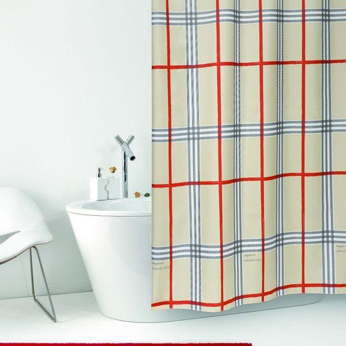 Штора для ванной Bacchetta Fabric, цвет: бежевый, 180 х 200 см3656Текстильная штора для ванной Bacchetta - выполнена из высококачественного полиэстера с водоотталкивающей и антибактериальной пропиткой, которая препятствует появлению на шторе плесени и других вредных грибков. Штора оснащена утяжелителем, который вшит по нижнему краю, и не позволяет шторе подниматься от потоков воздуха, создаваемых напором воды. Верхний край шторы усилен двойным подворотом ткани, люверсы для колец выполнены из пластика, это исключает появление ржавчины в помещении с повышенной влажностью, что часто встречается при использовании металлических деталей. Технология производства изделий отвечает новейшим европейским стандартам. Полотна отличаются высочайшими качественными характеристиками: высокими показателями износостойкости, цветостойкости и цветопередачи, прочности ткани на разрыв. Штора со временем не выцветает, а рисунок не вымывается. В комплекте со шторой предусмотрено 12 пластиковых колец. Допускается деликатная стирка при температуре не более 30 С, штора быстро сохнет.