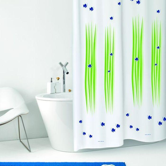 Штора для ванной Bacchetta Alghe, цвет: белый, зеленый, 180 х 200 см3661Влагонепроницаемая, надежная, долговечная и практичная штора для ванной от производителя с мировым именем Bacchetta. Выполнена штора из высококачественного ПВХ. Технология производства изделий отвечает новейшим европейским стандартам. Полотна отличаются высочайшими качественными характеристиками: высокими показателями износостойкости, прочности, цветостойкости и цветопередачи. Печатный рисунок на белом матовом фоне визуально не нагромождает пространство небольшой ванной комнаты. Штора обладает высокой прочностью, в комплекте предусмотрено 12 пластиковых колец. Штора со временем не выцветает, а рисунок не вымывается. Изделие легко моется и быстро сохнет.