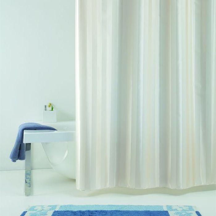 Штора для ванной Bacchetta Rigone, цвет: бежевый, 240 х 200 см4059Текстильная штора для ванной в универсальном дизайне от производителя с мировым именем Bacchetta. Выполнена штора из высококачественного полиэстера в белом цвете с жаккардовым рисунком, который формируется за счет изменения направления нитей, поэтому достигается эффект шелкового перелива одних элементов рисунка и матовость других. Штора имеет водоотталкивающую и антибактериальную пропитку, которая препятствует появлению на шторе плесени и других вредных грибков. Штора оснащена утяжелителем, который вшит по нижнему краю, и не позволяет шторе подниматься от потоков воздуха, создаваемых напором воды. Верхний край шторы усилен двойным подворотом ткани, люверсы для колец выполнены из пластика, это исключает появление ржавчины в помещении с повышенной влажностью, что часто встречается при использовании металлических деталей. Технология производства изделий отвечает новейшим европейским стандартам. Полотна отличаются высочайшими качественными характеристиками: высокими показателями износостойкости, цветостойкости и цветопередачи, прочности ткани на разрыв. Штора со временем не выцветает, а рисунок не вымывается. В комплекте со шторой предусмотрено 12 пластиковых колец. Допускается деликатная стирка при температуре не более 30 С, штора быстро сохнет.