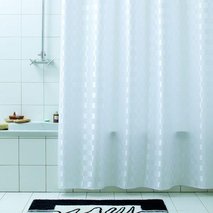 Штора для ванной Bacchetta Quadretto, цвет: белый, 240 х 200 см4062Текстильная штора для ванной в универсальном дизайне от производителя с мировым именем Bacchetta. Выполнена штора из высококачественного полиэстера в белом цвете с жаккардовым рисунком, который формируется за счет изменения направления нитей, поэтому достигается эффект шелкового перелива одних элементов рисунка и матовость других. Штора имеет водоотталкивающую и антибактериальную пропитку, которая препятствует появлению на шторе плесени и других вредных грибков. Штора оснащена утяжелителем, который вшит по нижнему краю, и не позволяет шторе подниматься от потоков воздуха, создаваемых напором воды. Верхний край шторы усилен двойным подворотом ткани, люверсы для колец выполнены из пластика, это исключает появление ржавчины в помещении с повышенной влажностью, что часто встречается при использовании металлических деталей. Технология производства изделий отвечает новейшим европейским стандартам. Полотна отличаются высочайшими качественными характеристиками: высокими показателями износостойкости, цветостойкости и цветопередачи, прочности ткани на разрыв. Штора со временем не выцветает, а рисунок не вымывается. В комплекте со шторой предусмотрено 12 пластиковых колец. Допускается деликатная стирка при температуре не более 30 С, штора быстро сохнет.