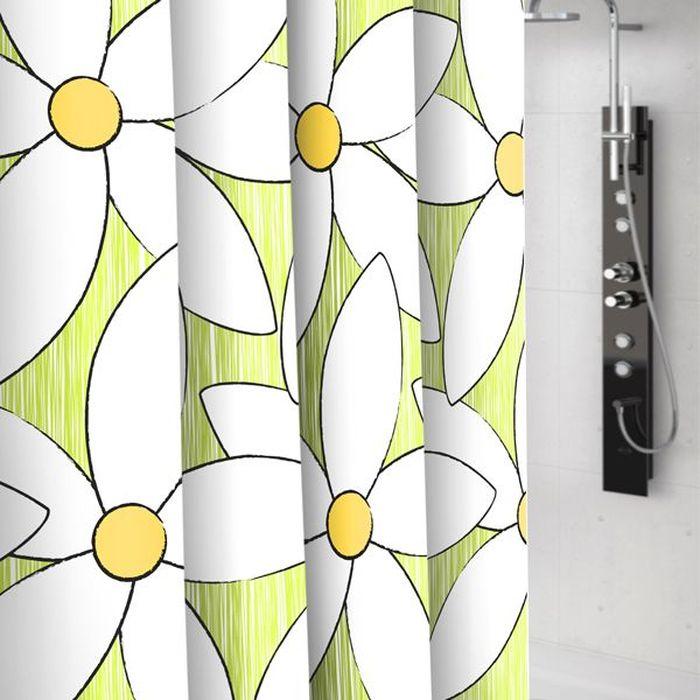 Штора для ванной Bacchetta Magnolia, цвет: белый, зеленый, 180 х 200 см4077Текстильная штора для ванной в стильном дизайне от производителя с мировым именем Bacchetta. Выполнена штора из высококачественного полиэстера с водоотталкивающей и антибактериальной пропиткой, которая препятствует появлению на шторе плесени и других вредных грибков. Штора оснащена утяжелителем, который вшит по нижнему краю, и не позволяет шторе подниматься от потоков воздуха, создаваемых напором воды. Верхний край шторы усилен двойным подворотом ткани, люверсы для колец выполнены из пластика, это исключает появление ржавчины в помещение с повышенной влажностью, что часто встречается при использовании металлических деталей. Технология производства изделий отвечает новейшим европейским стандартам. Полотна отличаются высочайшими качественными характеристиками: высокими показателями износостойкости, цветостойкости и цветопередачи, прочности ткани на разрыв. Штора со временем не выцветает, а рисунок не вымывается. В комплекте со шторой предусмотрено 12 пластиковых колец. Допускается деликатная стирка при температуре не более 30 С, штора быстро сохнет.