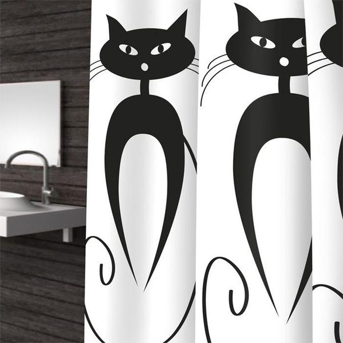 Штора для ванной Bacchetta Cats, цвет: белый, черный, 180 х 200 см коврик в душевую кабину bacchetta cats