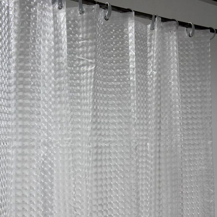 Штора для ванной Dasch La Vita 3D, цвет: прозрачный, 180 х 200 см. A023 - 00004543Штора для ванной Dasch La Vita 3D - это влагонепроницаемая, надежная, долговечная и практичная штора. Штора выполнена из высококачественного ПВХ. Полотна отличаются высочайшими качественными характеристиками: высокими показателями износостойкости, прочности, цветостойкости и цветопередачи. Рисунок выполнен по технологии 3D, что создает визуальное ощущение объемности орнамента. Это очень оригинально и стильно выглядит в ванной комнате любого размера, особенно в небольшой, так как рисунок визуально изменяет ощущение пространства. Штора обладает высокой прочностью и плотностью, со временем не выцветает, а рисунок не вымывается. Изделие легко моется и быстро сохнет.В комплекте предусмотрено 12 пластиковых колец. Толщина полотна 0,2 мм.
