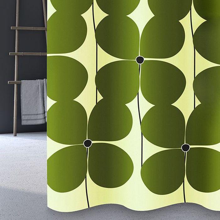 Штора для ванной Bacchetta Quadrifoglio, цвет: зеленый, 180 х 200 см4793Текстильная штора для ванной в стильном дизайне от производителя с мировым именем Bacchetta. Выполнена штора из высококачественного полиэстера с водоотталкивающей и антибактериальной пропиткой, которая препятствует появлению на шторе плесени и других вредных грибков. Штора оснащена утяжелителем, который вшит по нижнему краю, и не позволяет шторе подниматься от потоков воздуха, создаваемых напором воды. Верхний край шторы усилен двойным подворотом ткани, люверсы для колец выполнены из пластика, это исключает появление ржавчины в помещении с повышенной влажностью, что часто встречается при использовании металлических деталей. Технология производства изделий отвечает новейшим европейским стандартам. Полотна отличаются высочайшими качественными характеристиками: высокими показателями износостойкости, цветостойкости и цветопередачи, прочности ткани на разрыв. Штора со временем не выцветает, а рисунок не вымывается. В комплекте со шторой предусмотрено 12 пластиковых колец. Допускается деликатная стирка при температуре не более 30 С, штора быстро сохнет.