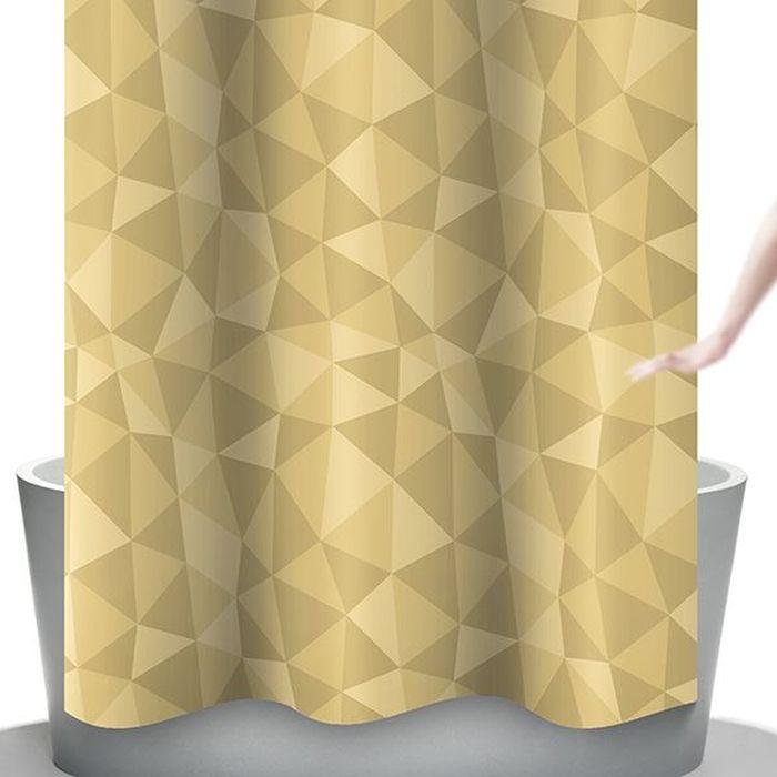 Штора для ванной Bacchetta Diamante, цвет: бежевый, 240 х 200 см4800Текстильная штора для ванной в стильном дизайне от производителя с мировым именем Bacchetta. Выполнена штора из высококачественного полиэстера с водоотталкивающей и антибактериальной пропиткой, которая препятствует появлению на шторе плесени и других вредных грибков. Штора оснащена утяжелителем, который вшит по нижнему краю, и не позволяет шторе подниматься от потоков воздуха, создаваемых напором воды. Верхний край шторы усилен двойным подворотом ткани, люверсы для колец выполнены из пластика, это исключает появление ржавчины в помещении с повышенной влажностью, что часто встречается при использовании металлических деталей. Технология производства изделий отвечает новейшим европейским стандартам. Полотна отличаются высочайшими качественными характеристиками: высокими показателями износостойкости, цветостойкости и цветопередачи, прочности ткани на разрыв. Штора со временем не выцветает, а рисунок не вымывается. В комплекте со шторой предусмотрено 12 пластиковых колец. Допускается деликатная стирка при температуре не более 30 С, штора быстро сохнет.