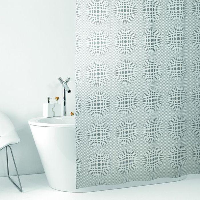 Штора для ванной Bacchetta Sfera, цвет: матовый белый, 240 х 200 см4833Влагонепроницаемая, надежная, долговечная и практичная штора для ванной от производителя с мировым именем Bacchetta. Выполнена штора из высококачественного ПВХ. Технология производства изделий отвечает новейшим европейским стандартам. Полотна отличаются высочайшими качественными характеристиками: высокими показателями износостойкости, прочности, цветостойкости и цветопередачи. Печатный рисунок на прозрачном матовом фоне выполнен таким образом, что создает визуальную иллюзию объемного изображения, что очень оригинально и стильно выглядит ванной комнате любого размера, особенно в небольшой, так как рисунок визуально изменяет ощущение пространства. Штора обладает высокой прочностью, в комплекте предусмотрено 12 пластиковых колец. Штора со временем не выцветает, а рисунок не вымывается. Изделие легко моется и быстро сохнет.