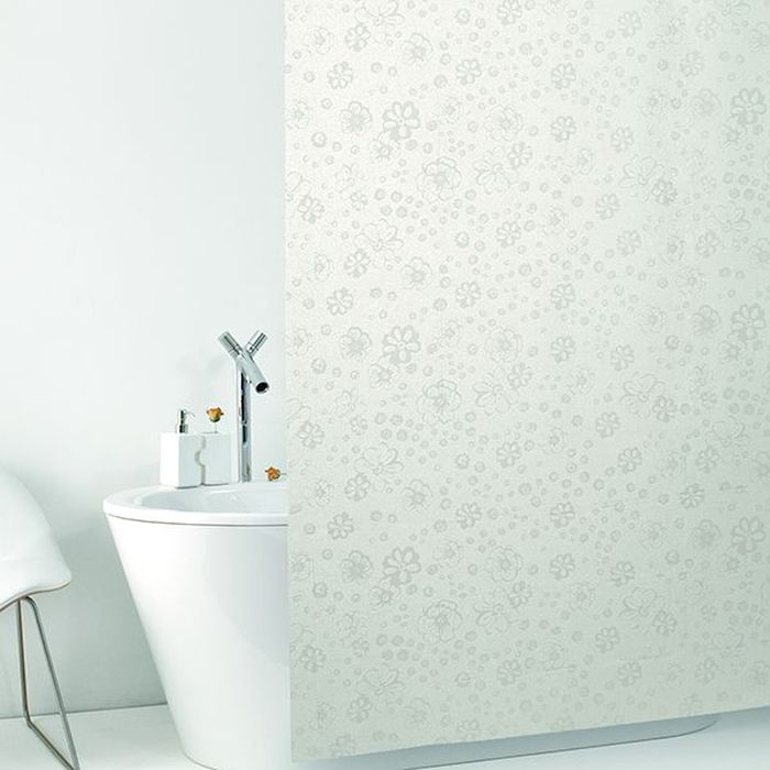 Штора для ванной Bacchetta Sfumature, цвет: матовый белый, 240 х 200 см4834Влагонепроницаемая, надежная, долговечная и практичная штора для ванной от производителя с мировым именем Bacchetta. Выполнена штора из высококачественного ПВХ. Технология производства изделий отвечает новейшим европейским стандартам. Полотна отличаются высочайшими качественными характеристиками: высокими показателями износостойкости, прочности, цветостойкости и цветопередачи. Нежный печатный рисунок на прозрачном матовом фоне визуально не нагромождает пространство небольшой ванной комнаты. Штора со временем не выцветает, а рисунок не вымывается. Штора обладает высокой прочностью, в комплекте со шторой предусмотрено 12 пластиковых колец. Изделие легко моется и быстро сохнет.