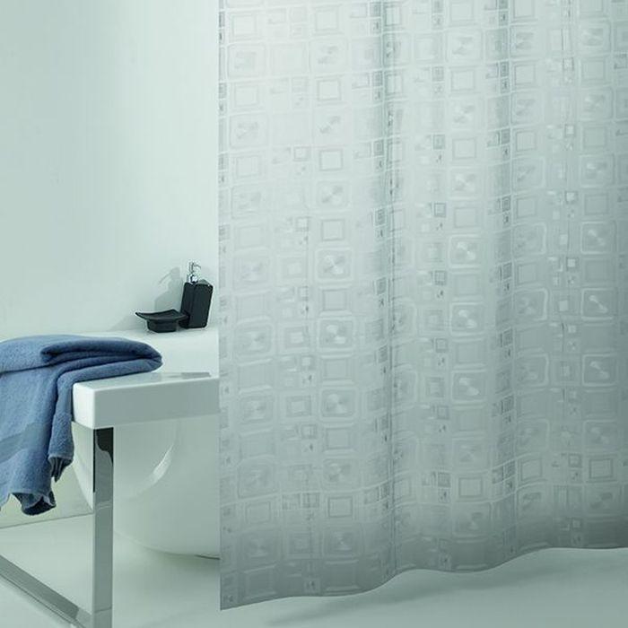 Штора для ванной Bacchetta Quadro perlescente, цвет: прозрачный, 240 х 200 см4835Влагонепроницаемая, надежная, долговечная и практичная штора для ванной Bacchetta выполнена штора из высококачественного ПВХ. Технология производства изделий отвечает новейшим европейским стандартам. Полотна отличаются высочайшими качественными характеристиками: высокими показателями износостойкости, прочности, цветостойкости и цветопередачи. Печатный рисунок на прозрачном матовом фоне визуально не нагромождает пространство небольшой ванной комнаты. Штора обладает высокой прочностью.В комплекте предусмотрено 12 пластиковых колец. Штора со временем не выцветает, а рисунок не вымывается. Изделие легко моется и быстро сохнет.