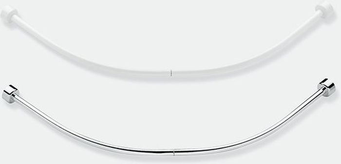 """Дугообразный облегченный карниз """"Bacchetta"""" для ванной комнаты. Карниз выполнен из легкого алюминия с полимерным порошковым покрытием, благодаря которому не подвержен коррозии в помещениях с повышенной влажностью. Состоит карниз из четырёх частей, которые плотно соединяются друг с другом с помощью пластиковых внутренних фиксаторов в ровную дугу для угла."""