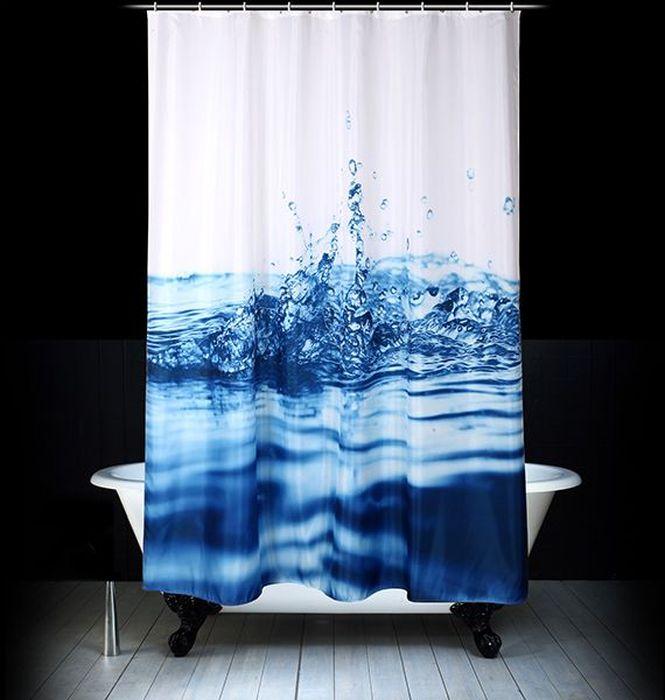 Штора для ванной Dasch Капли, цвет: белый, голубой, 180 х 200 см комплект ковриков для ванной и туалета dasch ромбы