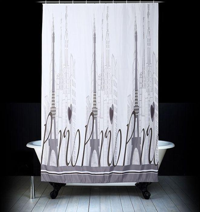 Штора для ванной Dasch Париж, цвет: белый, серый, 180 х 200 см комплект ковриков для ванной и туалета dasch ромбы