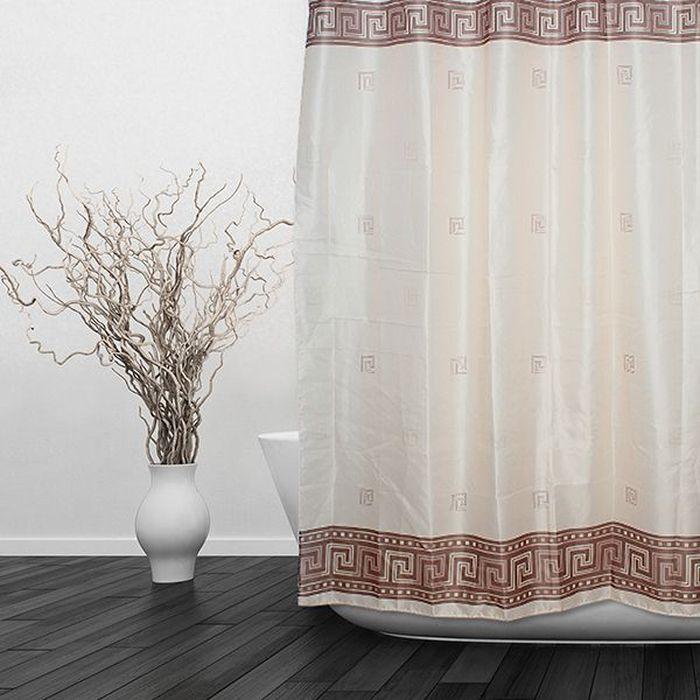 Штора для ванной Dasch Орнамент, цвет: бежевый, коричневый, 180 х 180 см5694Текстильная штора для ванной в стильном дизайне, который будет гармонично смотреться в любой ванной комнате. Выполнена штора из качественного полиэстера с водоотталкивающей и антибактериальной пропиткой, которая препятствует появлению на шторе плесени и других вредных грибков. Штора оснащена утяжелителем, который вшит по нижнему краю, и не позволяет шторе подниматься от потоков воздуха, создаваемых напором воды. Технология производства изделий отвечает европейским стандартам. Полотна отличаются высокими показателями износостойкости, цветостойкости и цветопередачи. Штора со временем не выцветает, а рисунок не вымывается. Допускается деликатная стирка при температуре 40 С.