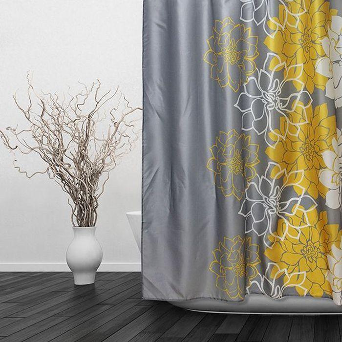 Штора для ванной Dasch Георгины, цвет: серый, желтый, 180 х 180 см5696Текстильная штора для ванной в стильном дизайне, который будет гармонично смотреться в любой ванной комнате. Выполнена штора из качественного полиэстера с водоотталкивающей и антибактериальной пропиткой, которая препятствует появлению на шторе плесени и других вредных грибков. Штора оснащена утяжелителем, который вшит по нижнему краю, и не позволяет шторе подниматься от потоков воздуха, создаваемых напором воды. Технология производства изделий отвечает европейским стандартам. Полотна отличаются высокими показателями износостойкости, цветостойкости и цветопередачи. Штора со временем не выцветает, а рисунок не вымывается. Допускается деликатная стирка при температуре 40 С.