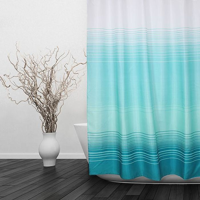 Штора для ванной Dasch Аквамарин, цвет: голубой, 180 х 180 см5698Текстильная штора для ванной в стильном дизайне, который будет гармонично смотреться в любой ванной комнате. Выполнена штора из качественного полиэстера с водоотталкивающей и антибактериальной пропиткой, которая препятствует появлению на шторе плесени и других вредных грибков. Штора оснащена утяжелителем, который вшит по нижнему краю, и не позволяет шторе подниматься от потоков воздуха, создаваемых напором воды. Технология производства изделий отвечает европейским стандартам. Полотна отличаются высокими показателями износостойкости, цветостойкости и цветопередачи. Штора со временем не выцветает, а рисунок не вымывается. Допускается деликатная стирка при температуре 40 С.Кольца в комплект не входят.