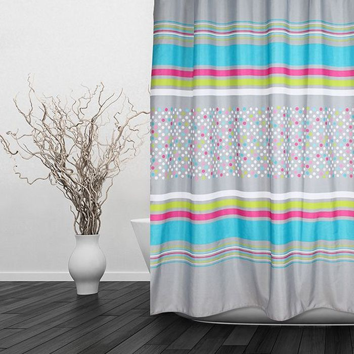 Текстильная штора для ванной в стильном дизайне, который будет гармонично смотреться в любой ванной комнате. Выполнена штора из качественного полиэстера с водоотталкивающей и антибактериальной пропиткой, которая препятствует появлению на шторе плесени и других вредных грибков. Штора оснащена утяжелителем, который вшит по нижнему краю, и не позволяет шторе подниматься от потоков воздуха, создаваемых напором воды. Технология производства изделий отвечает европейским стандартам. Полотна отличаются высокими показателями износостойкости, цветостойкости и цветопередачи. Штора со временем не выцветает, а рисунок не вымывается. Допускается деликатная стирка при температуре 40 С.